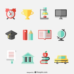 Education concept flat icons set