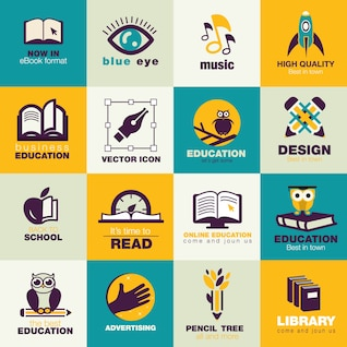 Education flat icons pack