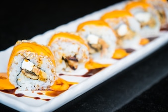 Eel sushi roll maki with cheese