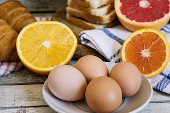 Eggs and oranges for breakfast