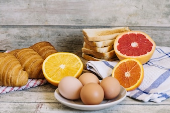 Eggs and pastry food
