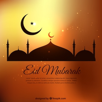 Eid mubarak template in golden tones