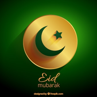 Eid mubarak with golden badge