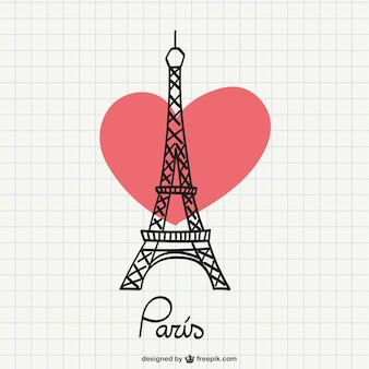 Eiffel Tower drawing with heart