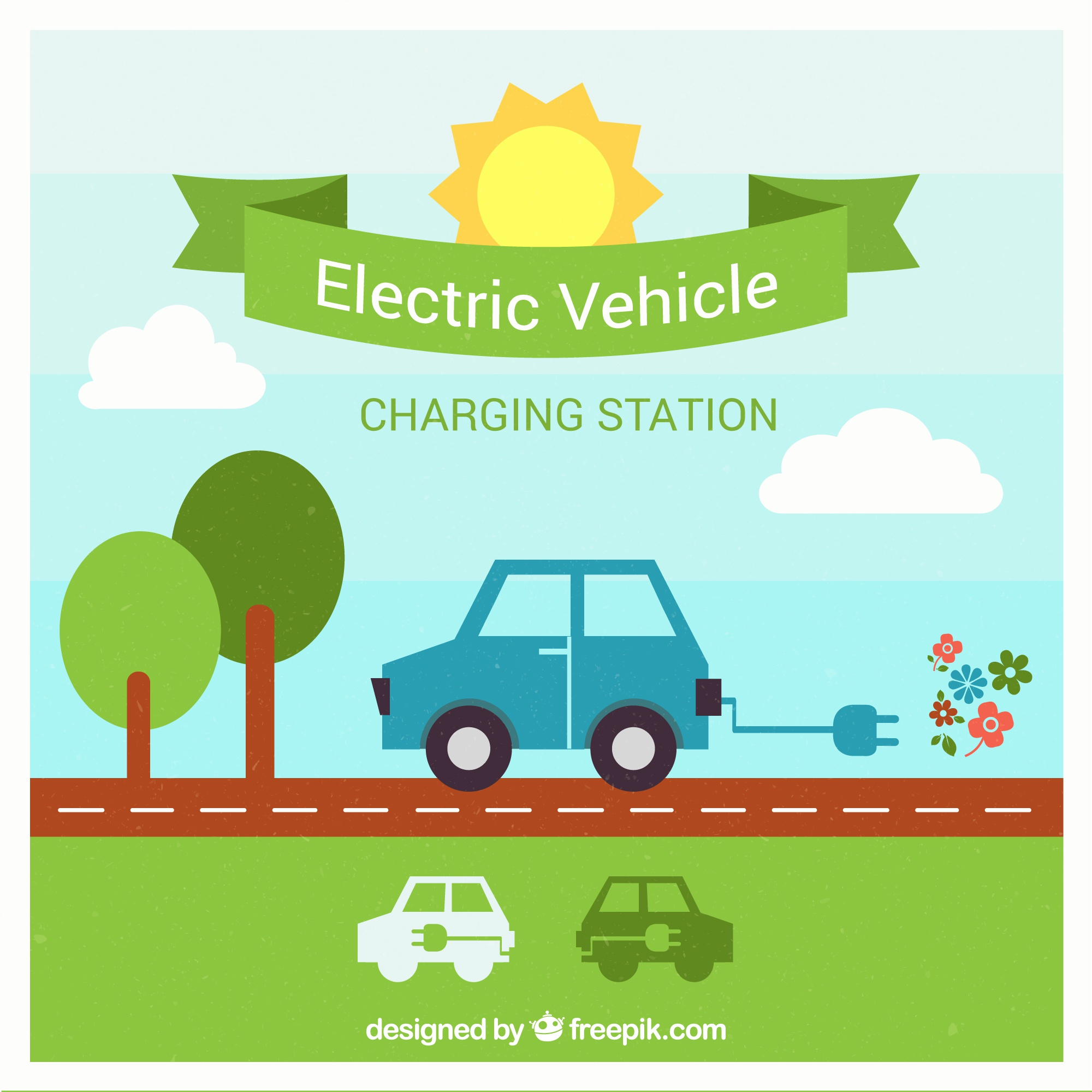 Electric car charging station vector