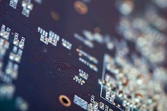 Electronic circuit board. Shallow DOF
