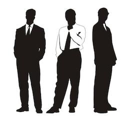 Elegant businessmen silhouettes in different profiles