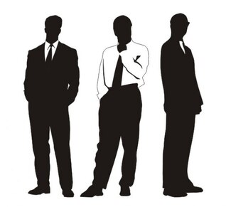 Elegant businessmen silhouettes in different profiles