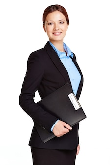 Elegant businesswoman holding a clipboard