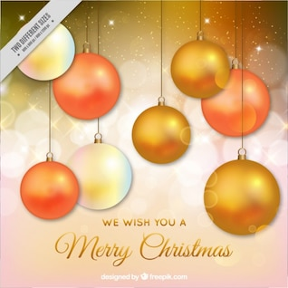 Elegant Christmas card with golden baubles