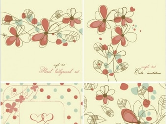 Elegant floral background pattern set