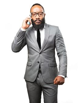 Elegant man answering a call