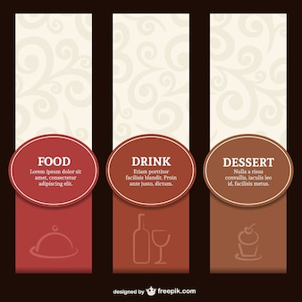 Elegant restaurant label menu set