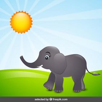 Elephant cartoon in countryside