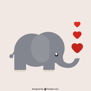 Elephant cartoon with heart