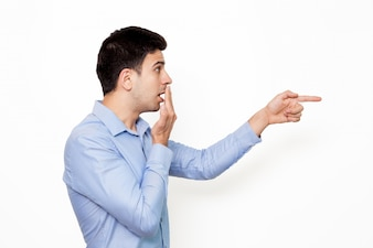 Employee young pointing wondering surprised