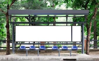Empty bus stop billbord
