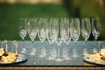 Empty champagne glasses