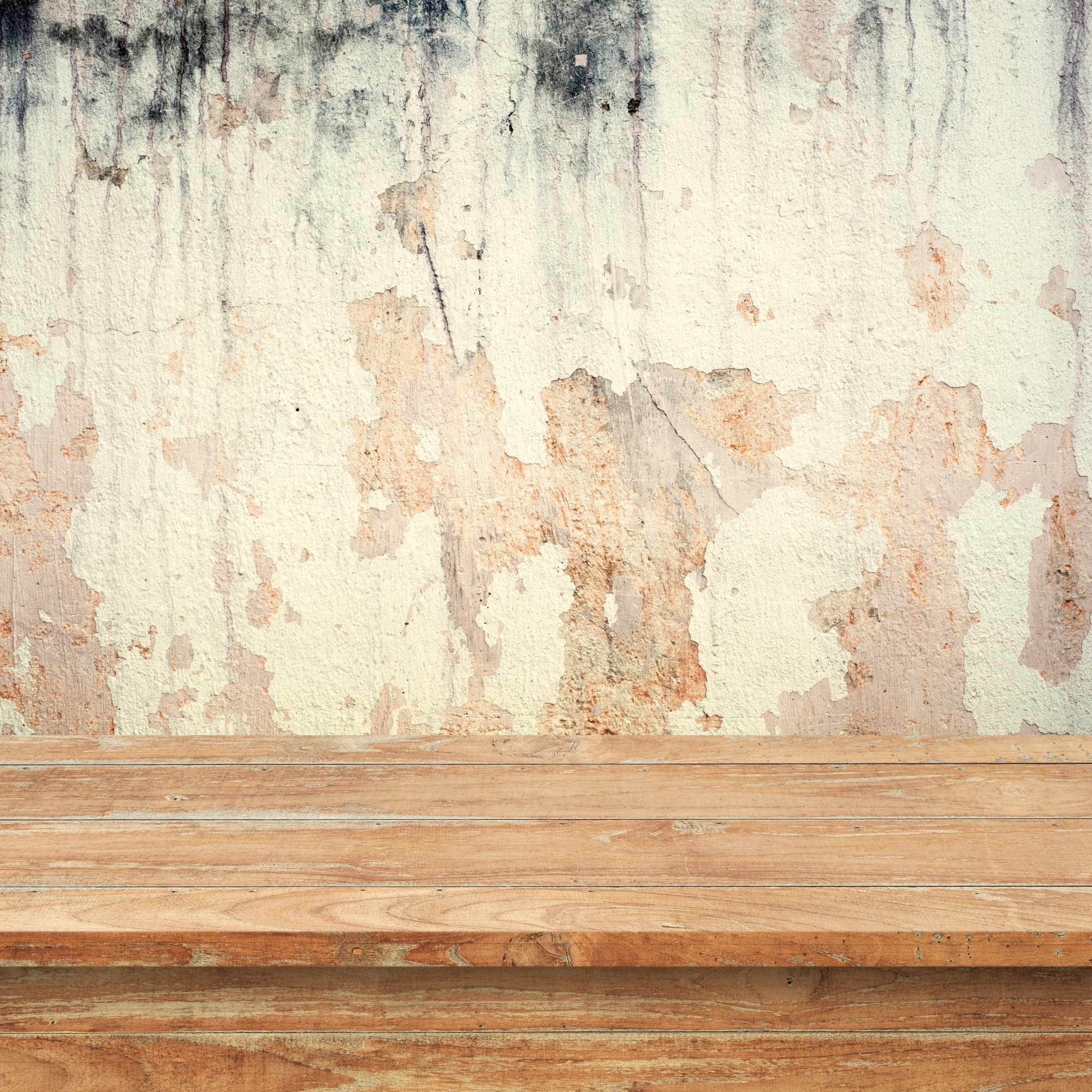 Empty top wood  shelves or table  on  concrete wall  background