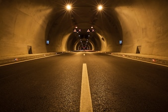 Empty tunnel illuminated