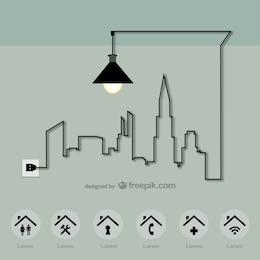 Energy city vector template