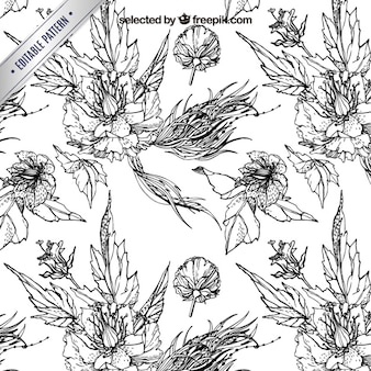 Engraving pattern with flowers