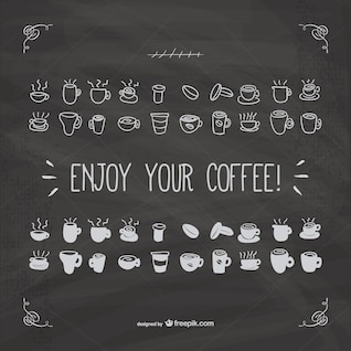 Enjoy your coffee vector with blackboard texture