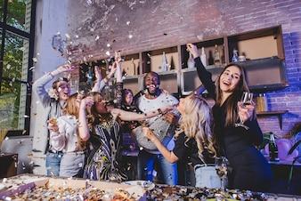 Enjoying people celebrating at home