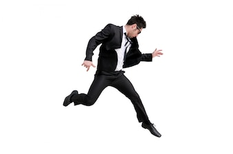 Enthusiastic businessman jumping