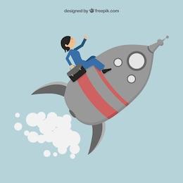 Entrepreneur sitting on a rocket