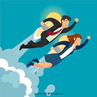 Entrepreneurs with a bulb rocket