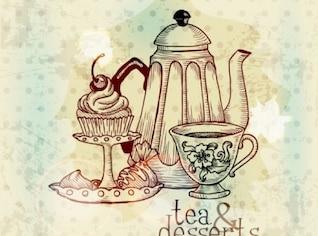 European oriental teapot background vector set