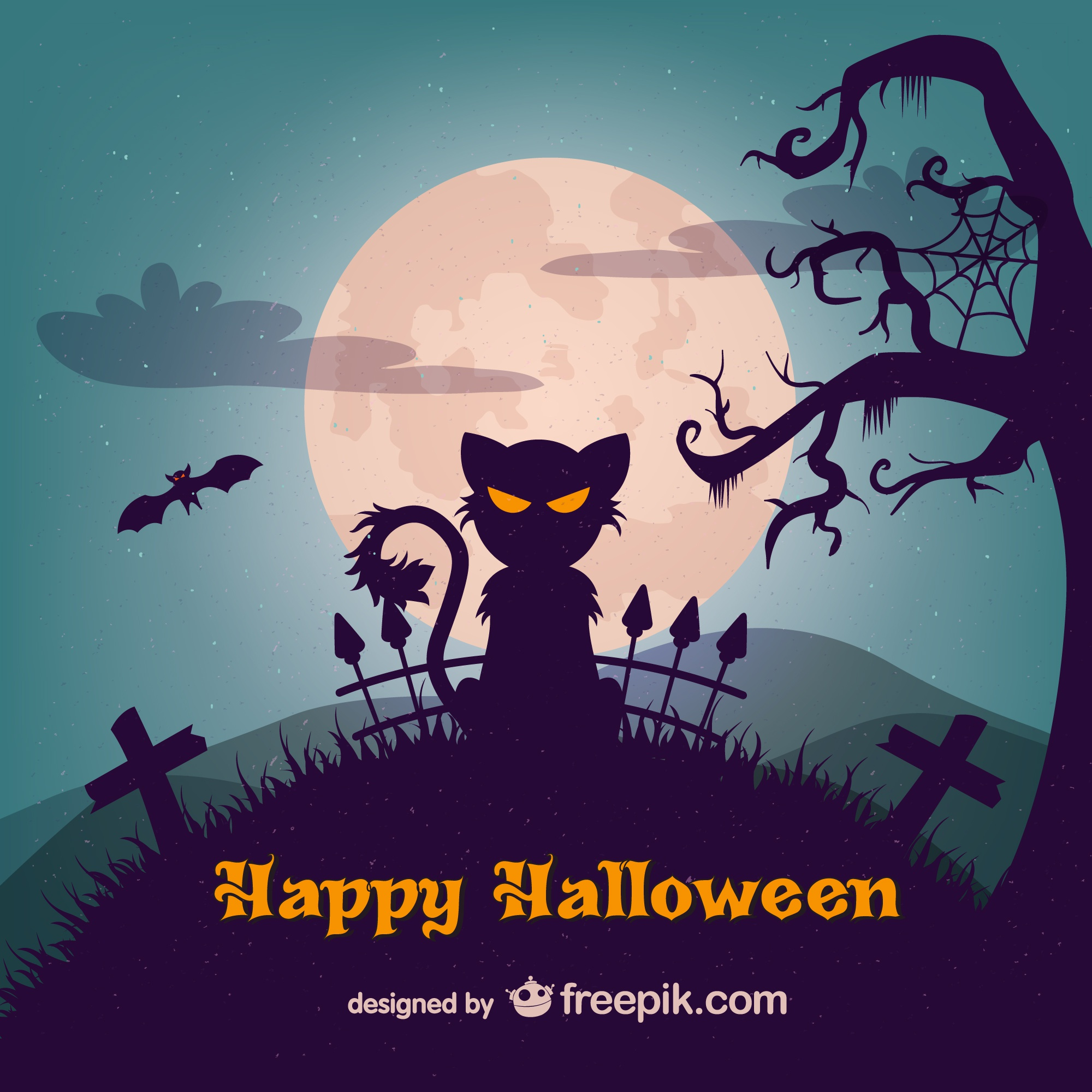 Evil cat halloween illustration template