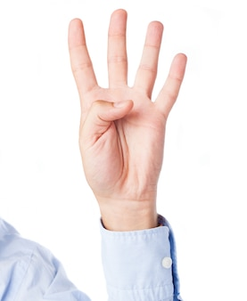 Executive's left hand counting