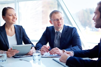 Executives planning business strategy