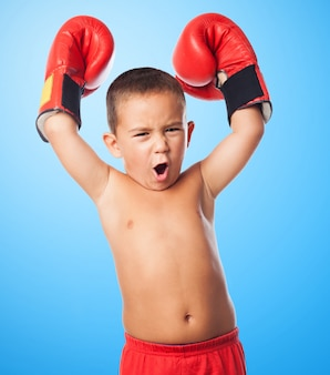 Exercise childhood fighter handsome cheering