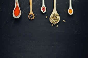 Exotic spices with space on bottom
