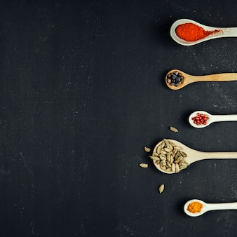 Exotic spices with space on left