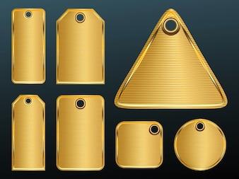 expensive geometric shape Golden plates vector