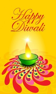 exquisite diwali card    vector material