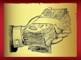 Extending hand wad of cash