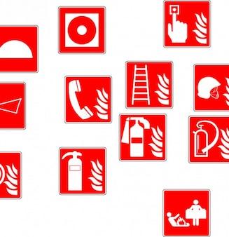 Extinguisher fire drencher symbols