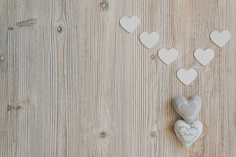 Fabric hearts with white paper hearts