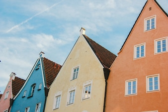 Facade of old colorful buildings in Fussen, Bavaria, Germany
