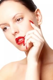 Face lipstick skincare posing fingernail
