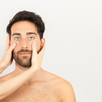 Face massage with copy space
