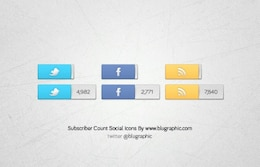 Facebook, Twitter  Rss Count Icons