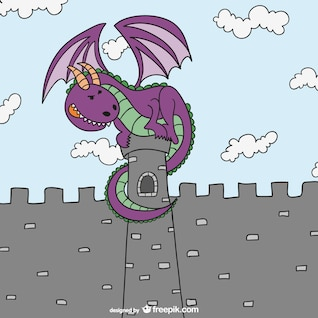 Fairy tales dragon and castle