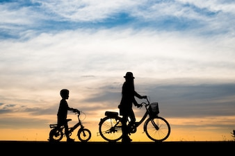 Family background evening sport bike