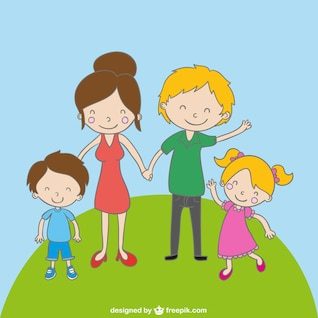 Family cartoon drawing